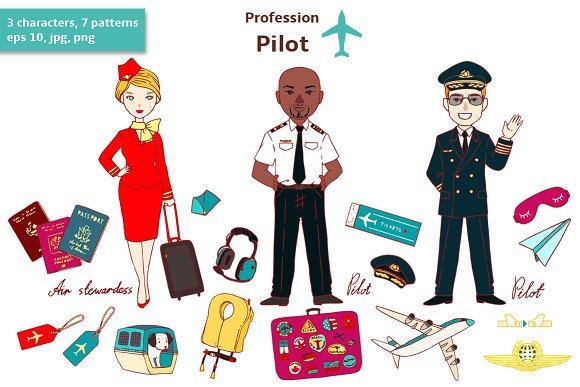 Profession. Pilot. - Illustrations