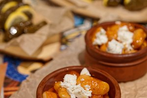 Cooked beans with feta cheese and do