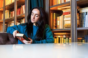 beautiful girl in the reading room