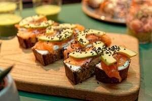 Canapes with salmon and avocado slic