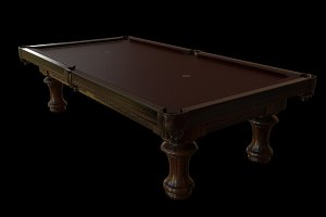 Pool Table: Classical Leather & Wood