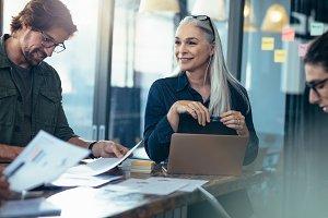 Business team analyzing financials