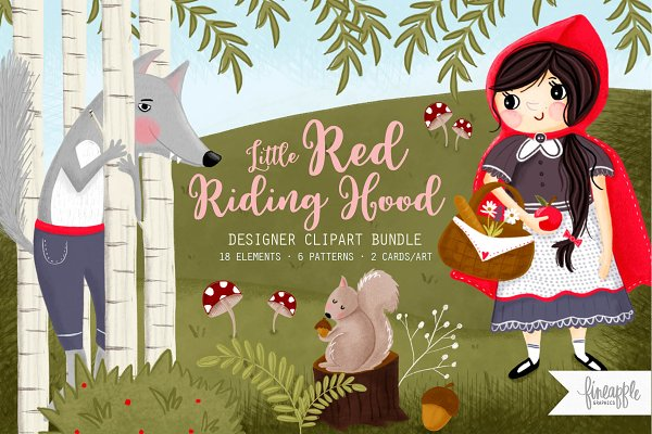 Illustrations and Illustration Products: FINEAPPLE PAIR - Little Red Riding Hood