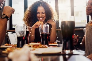 Woman enjoying lunch with friends