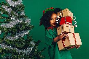 Kid in christmas costume