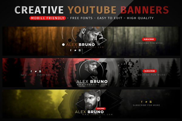Creative Youtube Banners Psd Template All Best Free Mockups Design