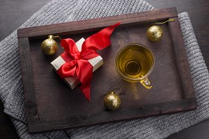 Wooden tray on Christmas