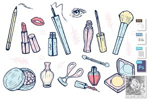 Cute girlish makeup items icons set