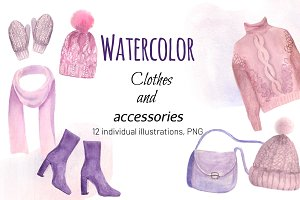 Watercolor Clothes and Accessories