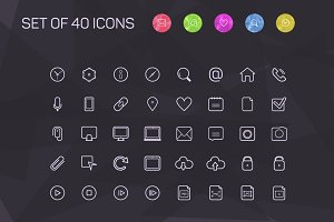 Thin line icons for Web and Mobile