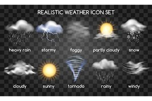 Realistic weather icons on