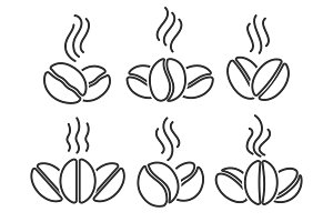 Coffee beans line icons set
