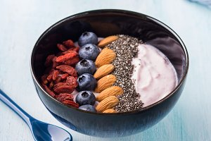 Yogurt smoothie bowl with berries