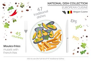 European cuisine. National dish set