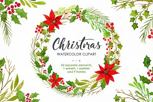Watercolor Christmas Greenery PNG