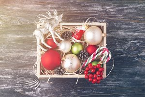 Box with Christmas decorations