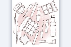 Vector illustration of makeup produc