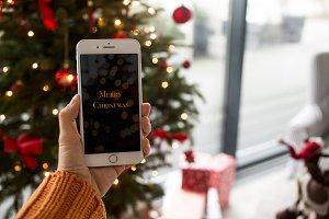 Christmas festive tree mockup