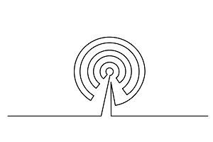 Wi Fi antenna icon on white