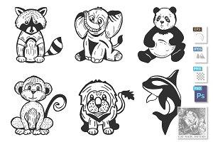 Cute cartoon stylized animals set