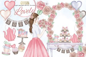 Lovely- whimsical valentines clipart