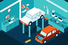 Isometric garage car repair