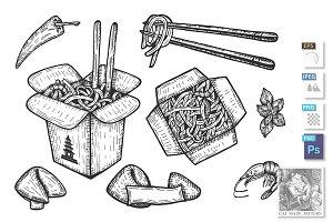 Chinese takeaway noodles set