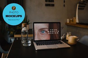 7 Mockups - Macbook in the cafe