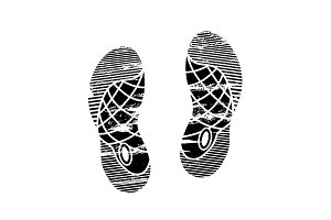 Footprints and shoeprints icon in