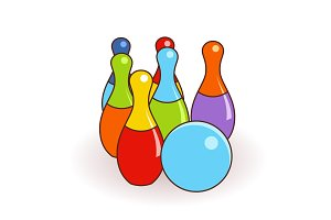 Bowling pins and one ball