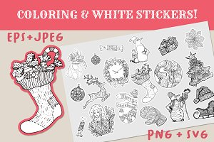Christmas Coloring + White Stickers