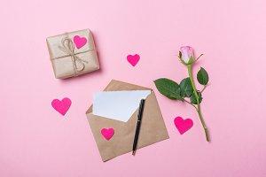 Pink rose, craft envelope with blank