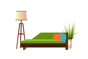Realistic green sofa with floor lamp