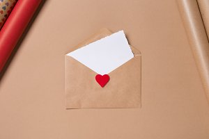 Craft envelope with blank paper and