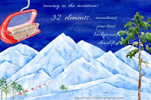Snowing Watercolor clipart