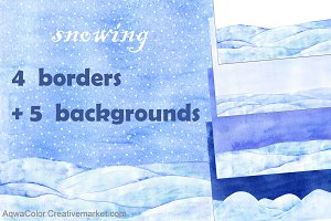 Snowing border Watercolor clipart