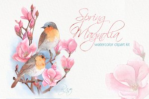 Watercolor birds on magnolia clipart