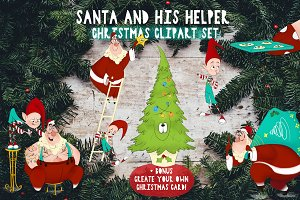 Santa&helper - Christmas clipart set