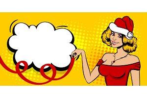 Christmas pop art sexy woman smile