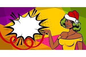 Christmas pop art black woman smile