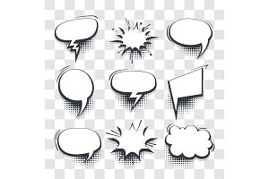 Comic speech bubbles pop art