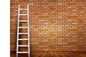 Ladder against and a red brick wall