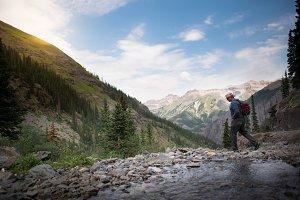 Man Hiking in Mountains 1