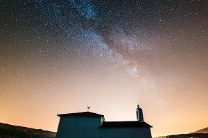 Milky way over little chapel