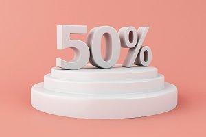 3d Discount 50 percent off.