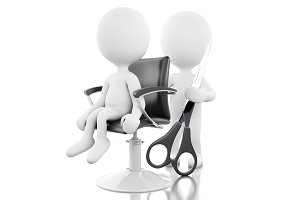3d hairdresser with Scissors.