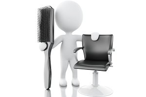 3d hairdresser with Hairbrush.
