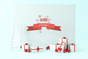 3d Greeting Christmas card with gift
