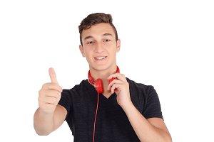 Portrair of smiling teen listening m