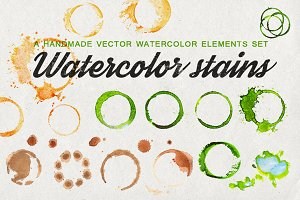 Set of watercolor stains (+vector)